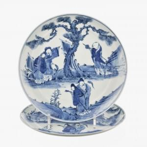 Paire d'assiettes, Chine, dynastie Qing (1644-1912), marque Kangxi apocryphe